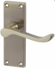 Victorian Scroll Door Handle - Short Latch Set - Satin Nickel