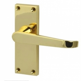Victorian Straight Door Handle - Short Latch Set - Polished Brass