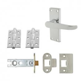 Aglio Victorian Handle Door Kit - Short Latch Set - Polished Chrome