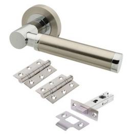 Touchpoint Juliet Door Handle - Door Kit - Satin Nickel/polished Chrome