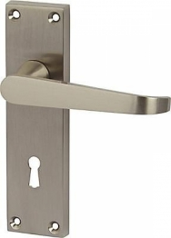 Victorian Straight Door Handle - Keyhole Lock Set - Satin Nickel