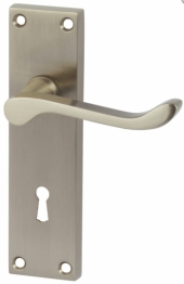 Victorian Scroll Door Handle - Keyhole Lock Set - Satin Nickel