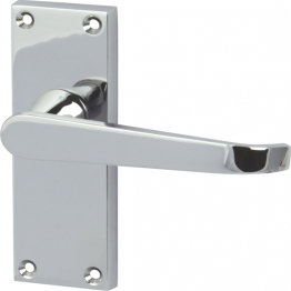 Straight Door Latch Handle Set - Polished Chrome