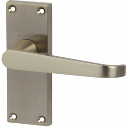 Victorian Straight Door Handle - Short Latch Set - Satin Nickel