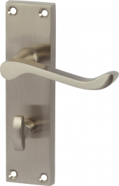 Victorian Scroll Bathroom Door Handle Set - Satin Nickel
