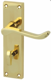 Victorian Scroll Bathroom Door Handle Set - Polished Brass