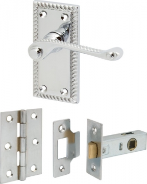 Georgian Scroll Lever Handles On Short Plate With Latch Set, Zinc Alloy