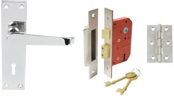 Plain Victorian Lever Handle Door Set, Internal Lock Version