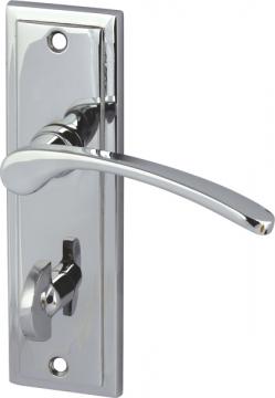 Drayton Lever Handles With Backplates For Bathroom Lock, Zinc Alloy