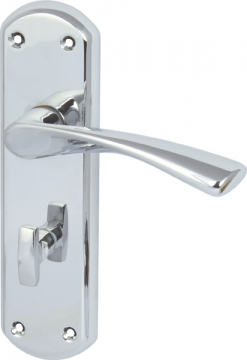 Olton Lever Handles With Backplates For Bathroom Lock, Zinc Alloy