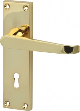 Plain Victorian Lever Handles With Backplates For Lever Lock, Zinc Alloy