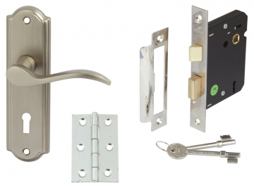 Sywell Door Set Packs, Zinc Alloy, Levers On Backplate Set, Internal Lock Version