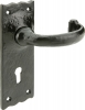 Tudor Antique Iron Traditional Lever Handles, With Standard Keyway Backplate, 57 Mm Lock Centres