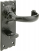 Tudor Antique Iron Traditional Lever Handles, With Bathroom Lock Backplate, 57 Mm Lock Centres