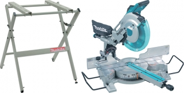 Makita 110v/240v 305 Mm Slide Compound Mitre Saw And Table Set