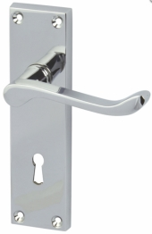 Victorian Scroll Door Handle - Keyhole Lock Set - Polished Chrome