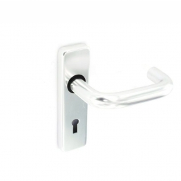 Polished Aluminium Return To Door Handle - Keyhole Lock Set
