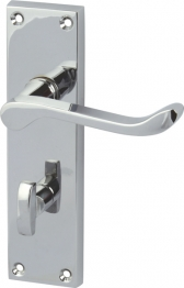 Victorian Scroll Bathroom Door Handle Set - Polished Chrome