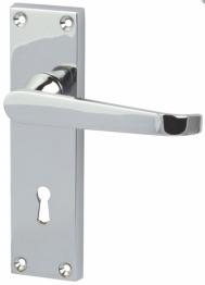 Victorian Straight Door Handle - Keyhole Lock Set - Polished Chrome