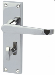 Victorian Straight Door Handle - Bathroom Set - Polished Chrome