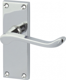 Victorian Scroll Door Handle - Short Latch Set - Polished Chrome