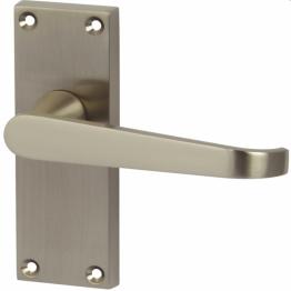 Victorian Straight Door Handle - Short Latch Set - Satin Nickel