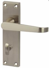 Victorian Straight Door Handle - Bathroom Set - Satin Nickle