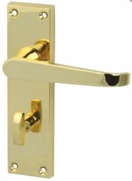 Victorian Straight Door Handle - Bathroom Set - Polished Brass
