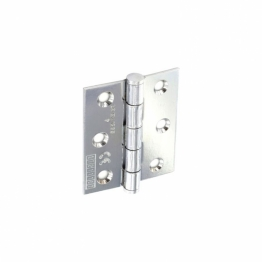 Pair Of 75mm Ce Steel Butt Hinges / Door Hinges Grade 7 Polished Chrome Plate With Screws