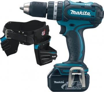 Makita Bhp456rfe 18v Combi Drill With Belt And Pouch Set
