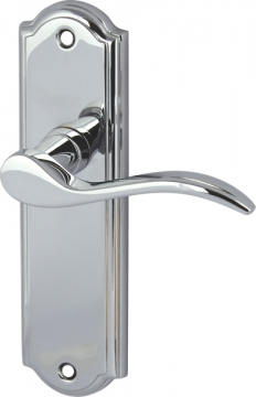 Sywell Lever Handles With Backplates For Latch, Zinc Alloy
