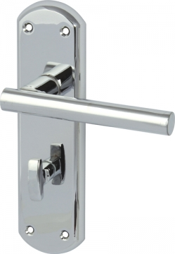 Varthen Lever Handles With Backplates For Bathroom Lock, Zinc Alloy