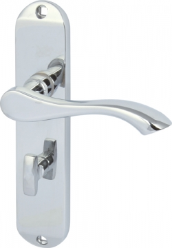 Welford Lever Handles With Backplates For Bathroom Lock, Zinc Alloy