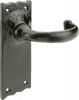 Tudor Antique Iron Traditional Lever Handles, With Latch Backplate, Sprung